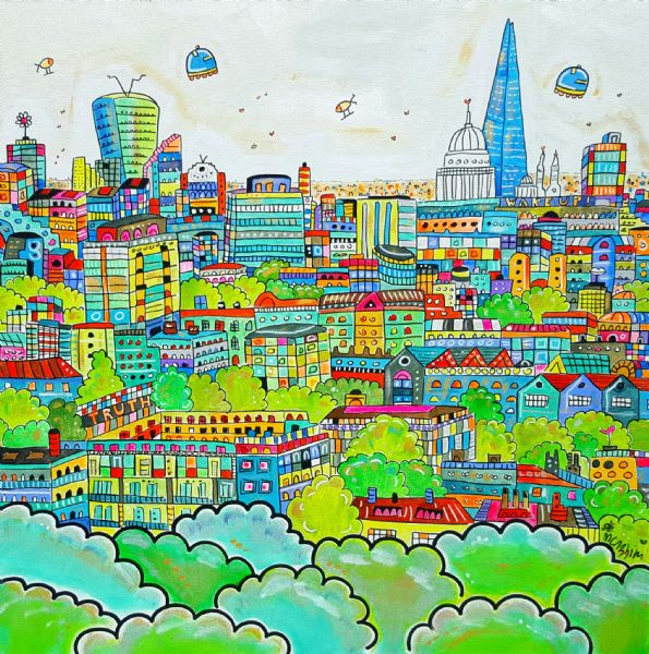 Cartoon Vibrant London, 80 x 80 cm, original acrylic painting